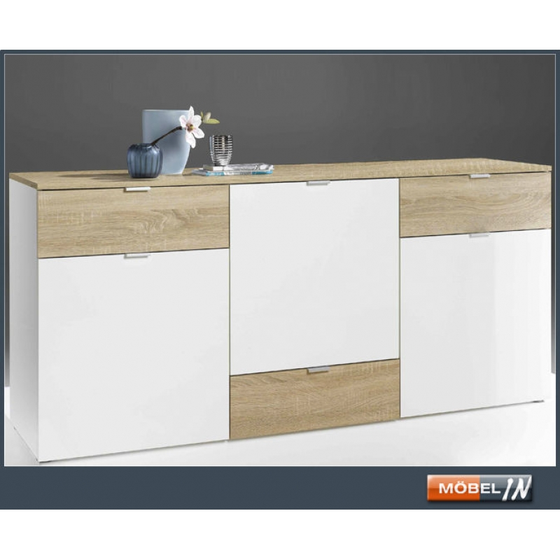 Kommode Ablage Highboard Sideboard In Eiche Sagerauh Weiss