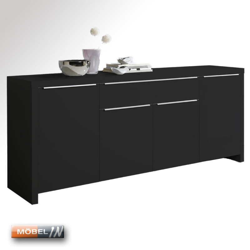 kommode schrank anrichte highboard sideboard regal ablage schwarz hoc. Black Bedroom Furniture Sets. Home Design Ideas