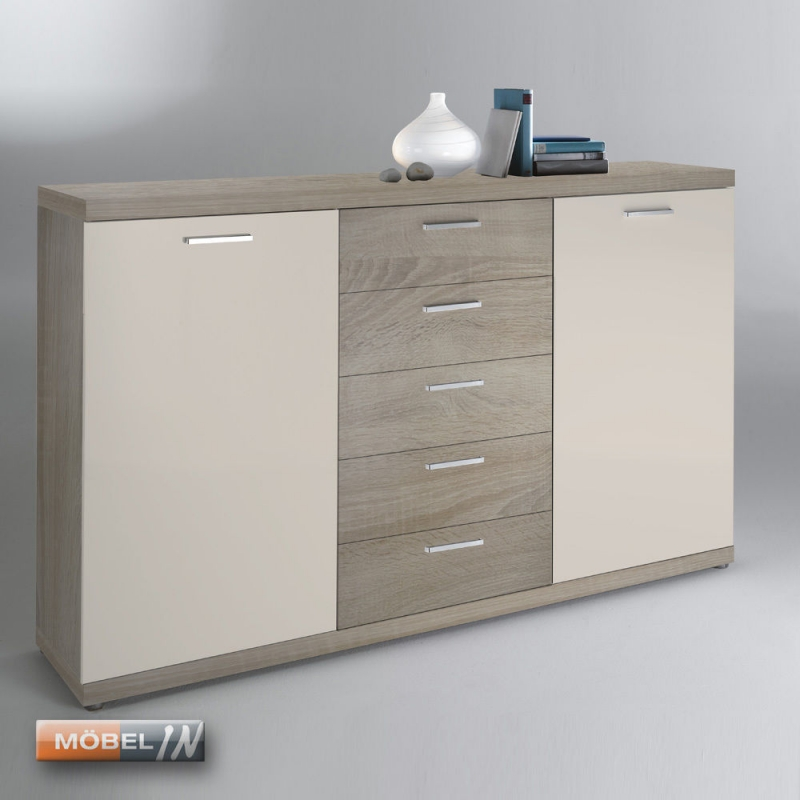 Kommode Schrank Anrichte Regal Highboard Sideboard Sanremo Sand Wei S