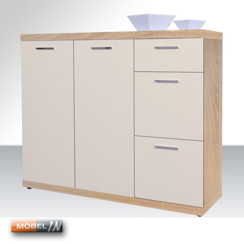 Kommode Schrank Anrichte Regal Highboard Sideboard Eiche-Sonoma / Mac
