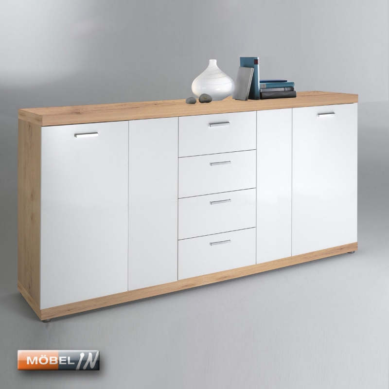 kommode schrank anrichte regal highboard sideboard sanremo sand wei. Black Bedroom Furniture Sets. Home Design Ideas