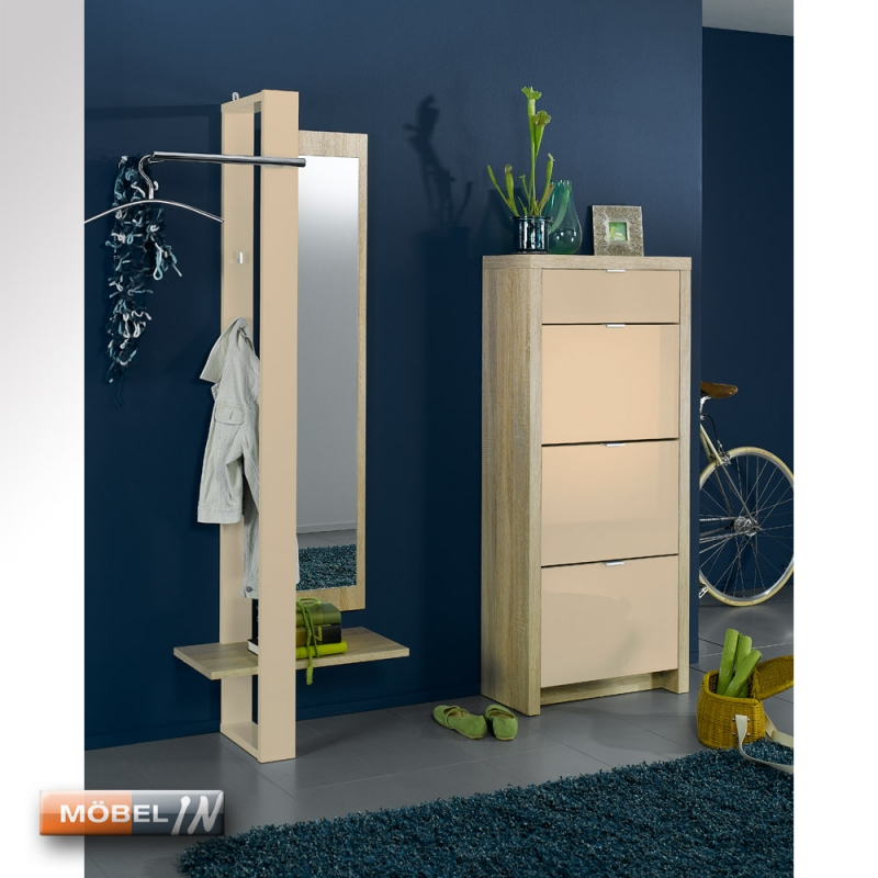 schuhschrank garderobe schuhregal regal ablage 3 klappen modern eiche. Black Bedroom Furniture Sets. Home Design Ideas