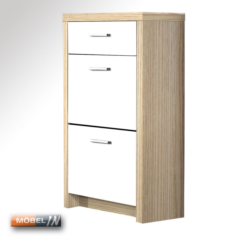 schuhschrank garderobe schuhregal regal schrank 2 klappen 1 schubfach. Black Bedroom Furniture Sets. Home Design Ideas