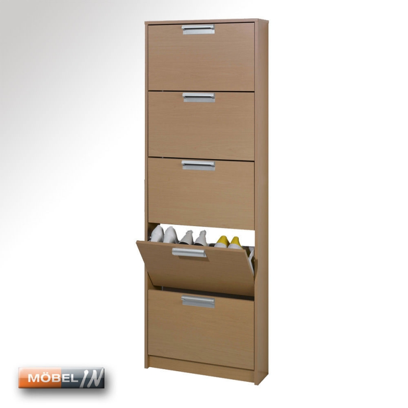 schuhschrank maxi garderobe schuhregal regal ablage 5 klappen buche n. Black Bedroom Furniture Sets. Home Design Ideas