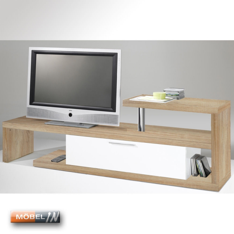 tv bank mediaschrank sideboard regal lowboard kommode ablage eiche. Black Bedroom Furniture Sets. Home Design Ideas