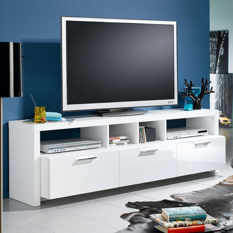 tv bank mediaschrank sideboard regal lowboard kommode ablage wei szli. Black Bedroom Furniture Sets. Home Design Ideas