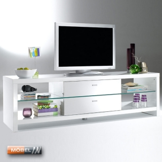 tv bank mediabank lowboard mediaschrank sideboard kommode ablage wei. Black Bedroom Furniture Sets. Home Design Ideas